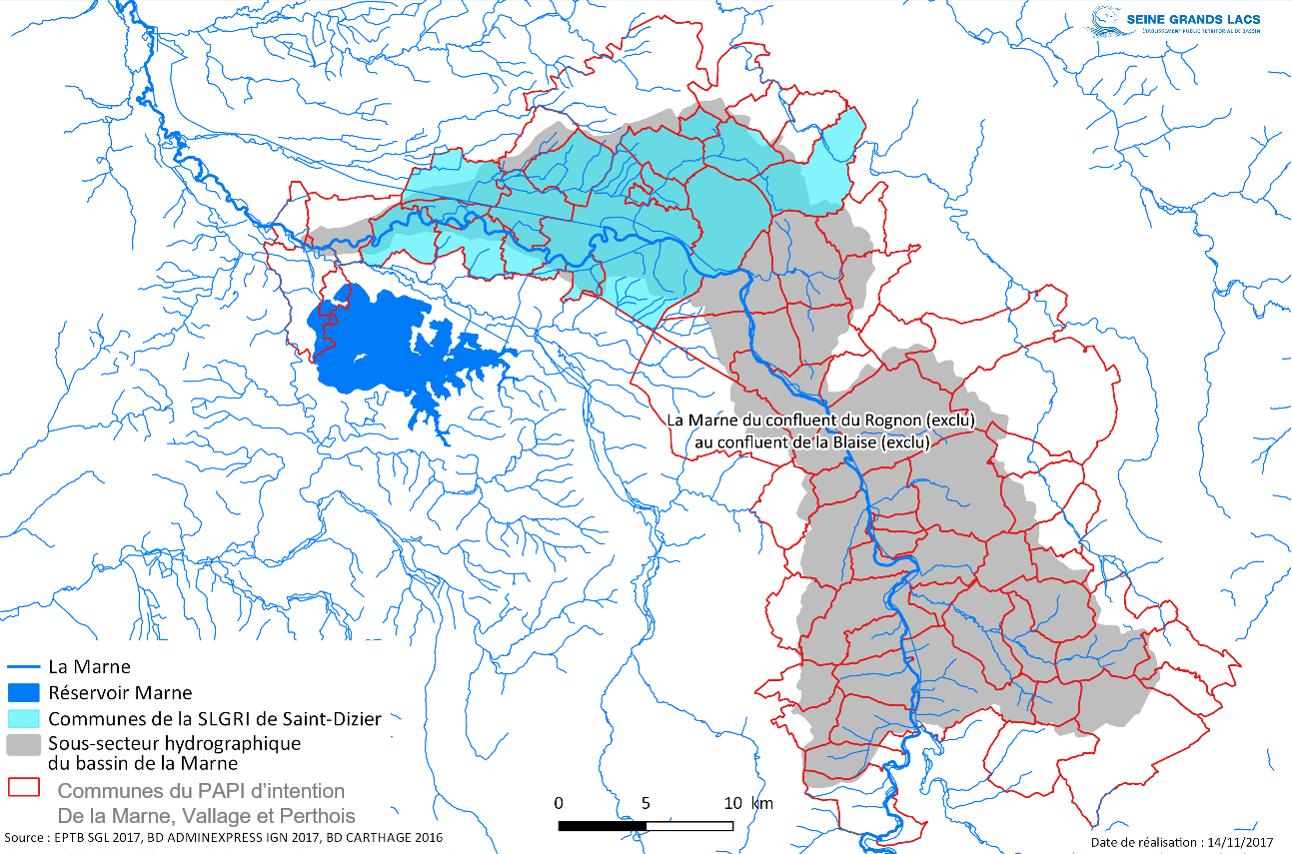 Le périmètre du PAPI d'intention de la Marne, Vallage et Perthois - EPTB Seine Grands Lacs