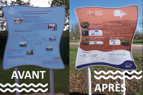 Installation de nouveaux panneaux signalétiques autour des lacs - EPTB Seine Grands Lacs